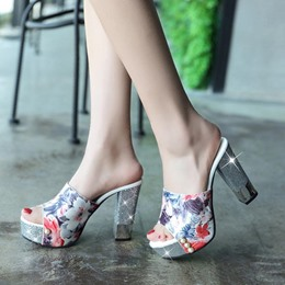 Shoespie Casual Floral Chunky Heel Mules Shoes
