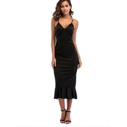 Shoespie Plain Mermaid Backless V Neck Women's Bodycon Dress