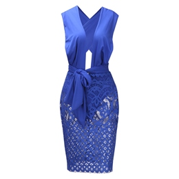 Shoespie V Neck Patchwork Lace Women's Bodycon Dress