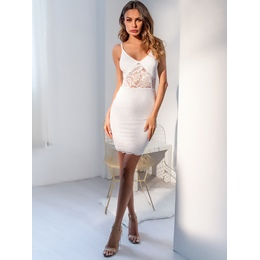 Shoespie V Neck Pullover Spaghetti Strap Women's Bodycon Dress