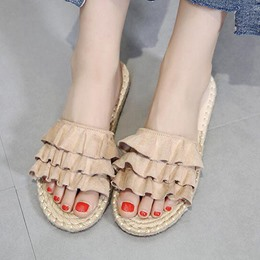 Cute Falbala Block Heel Slide Sandals