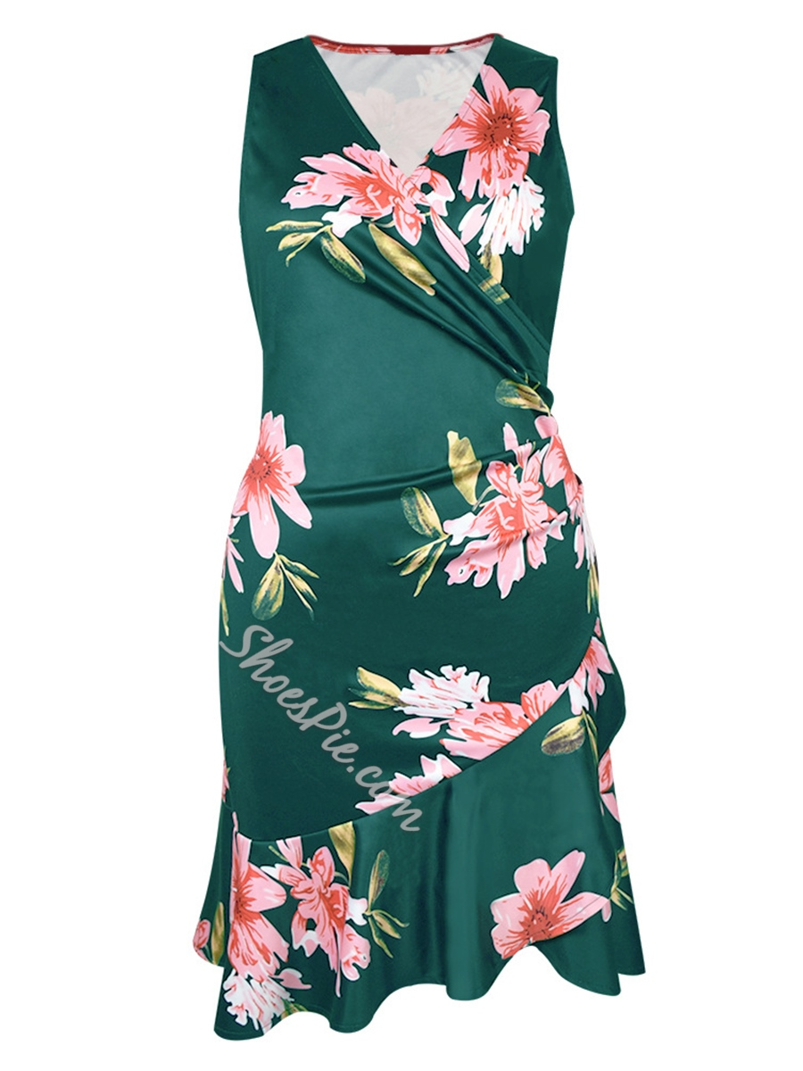 Shoespie Plusee Floral V Neck Women's Bodycon Dress