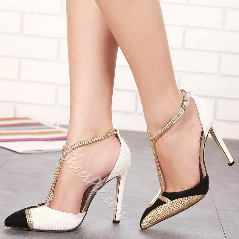 Shoespie Brilliant Rhinestone T-Shaped Buckle Stiletto Heels