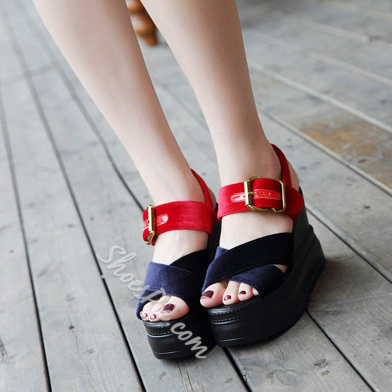 Shoespie Buckle Open Toe Wedge Heels