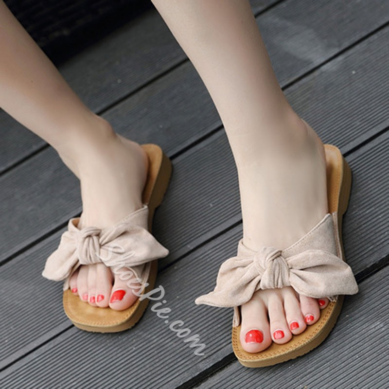 Shoespie Cute Bow Casual Slide Sandals