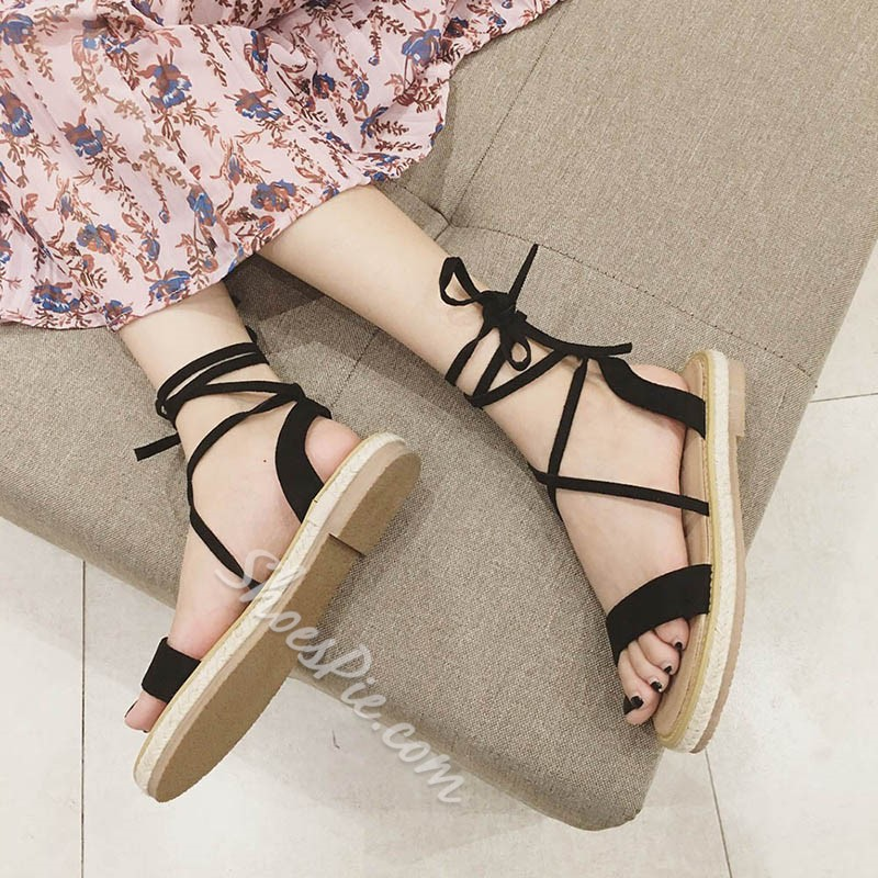 Casual Ankle Strap Lace-Up Slide Sandals