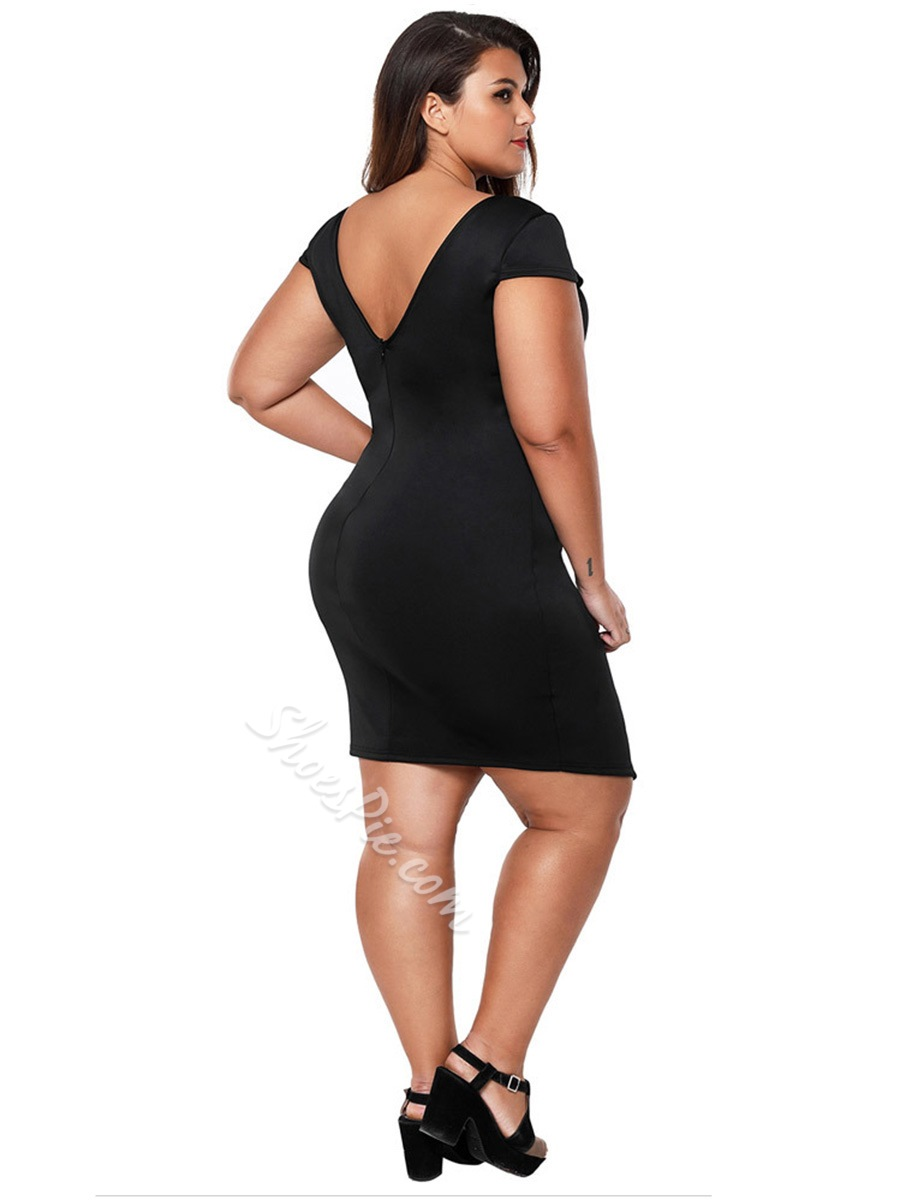 Shoespie Pullover V Neck Plusee Women's Bodycon Dress