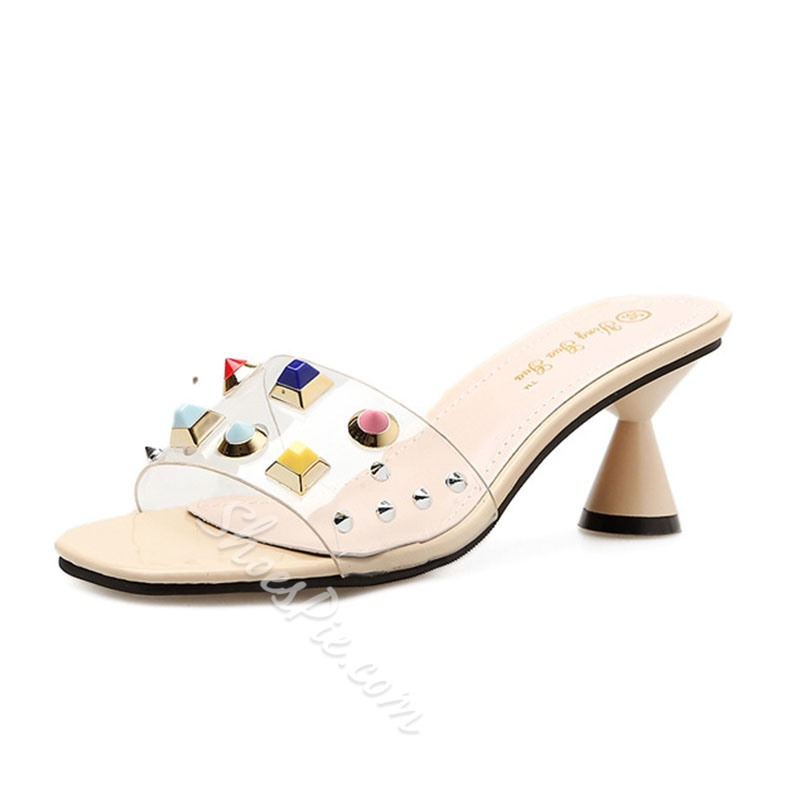 Shoespie Colorful Rivet Shaped Heel Slide Sandals
