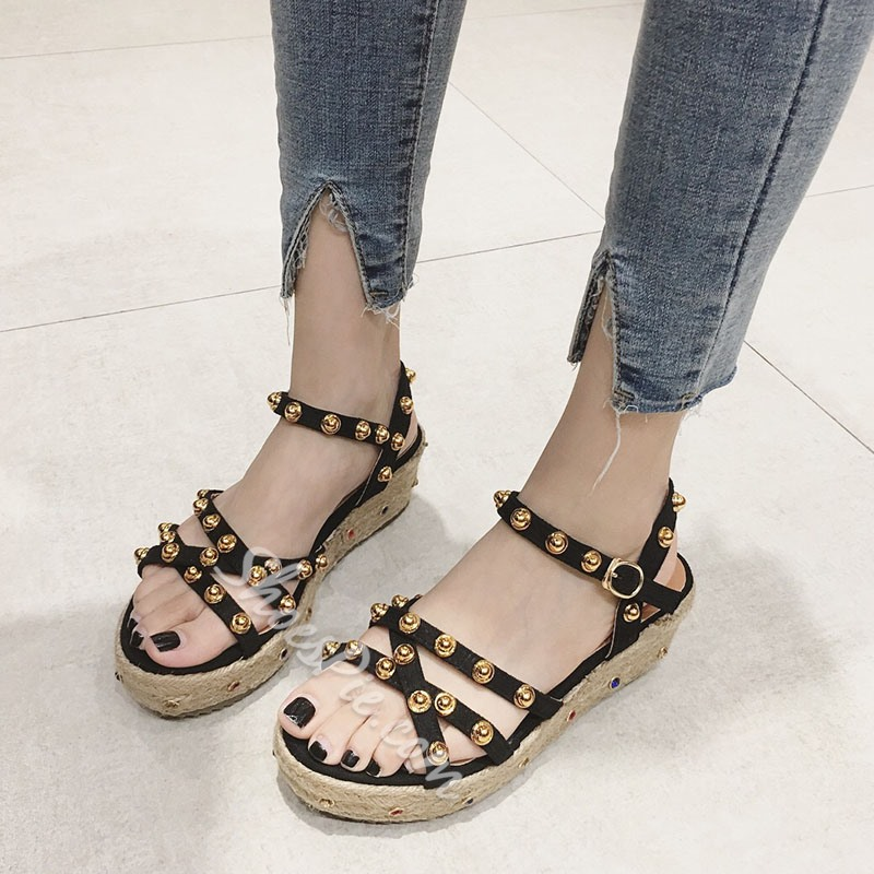 Shoespie Rivet Open Toe Ankle Strap Platform Sandals