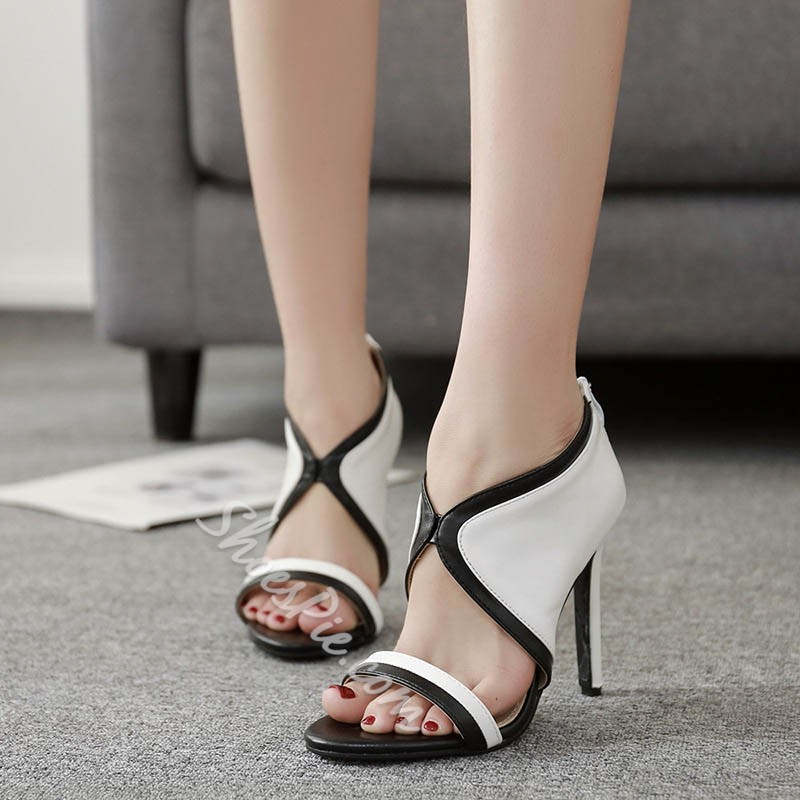 Black & White Heel Covering Zipper Stiletto Heels