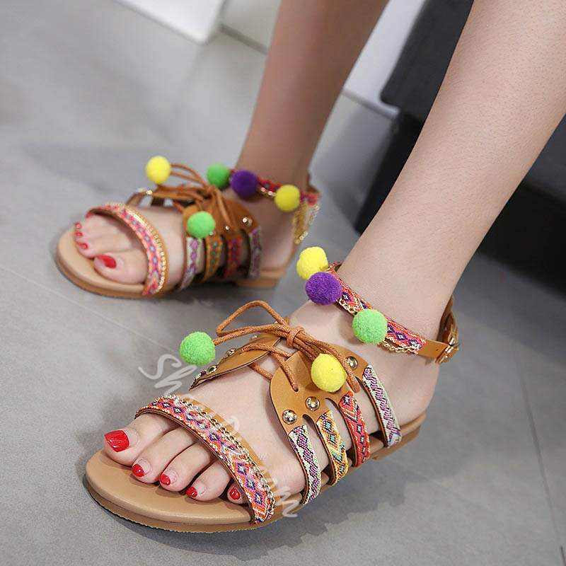 Shoespie Colorful Cute Pompom Ankle Strap Slipper