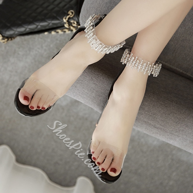 Rhinestone Jelly High Heel Sandals