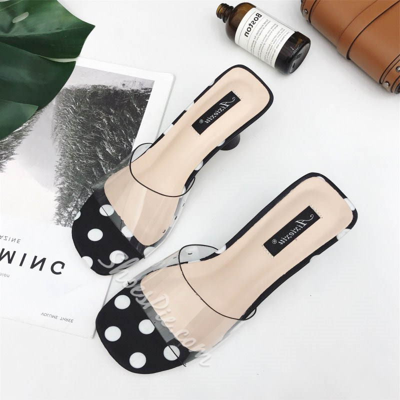 Black & White Polka Dot Jelly Slide Sandals