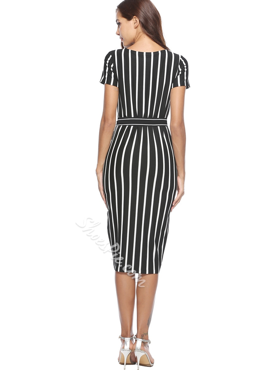 Shoespie Round Neck Pullover Stripe Women' Bodycon Dress