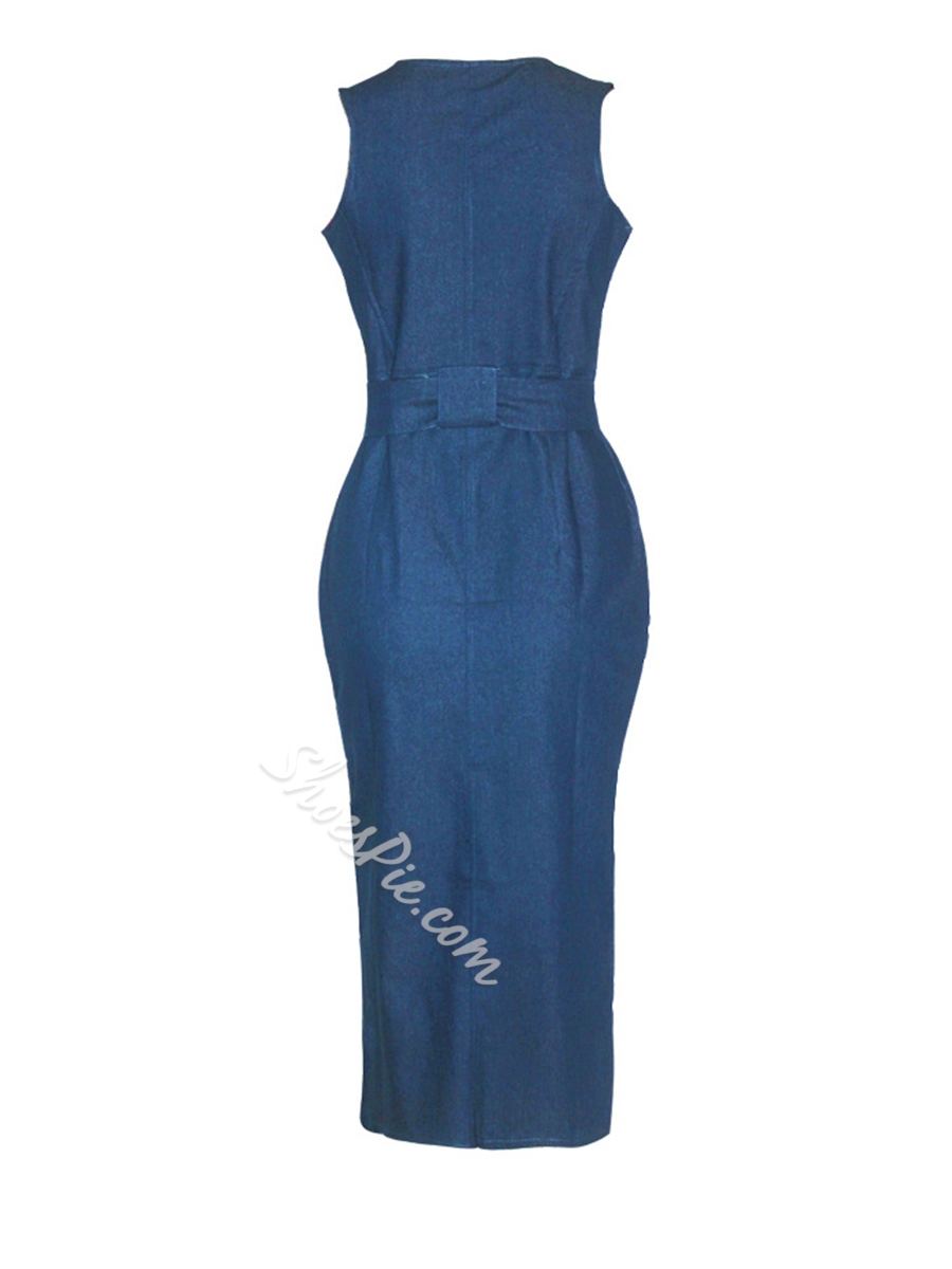 Shoespie Sleeveless Plain Zipper Women's Bodycon Dress