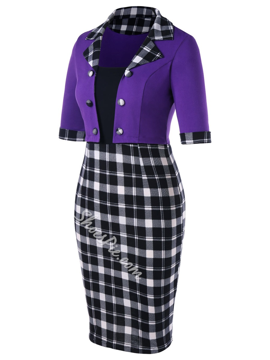 Shoespie Patchwork Plaid Women's Bodycon Dress