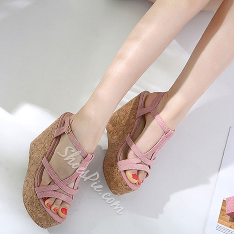 Shoespie T-Shaped Buckle Wedge Heels