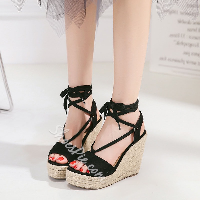 Shoespie Lace-Up Open Toe Wedge Sandals