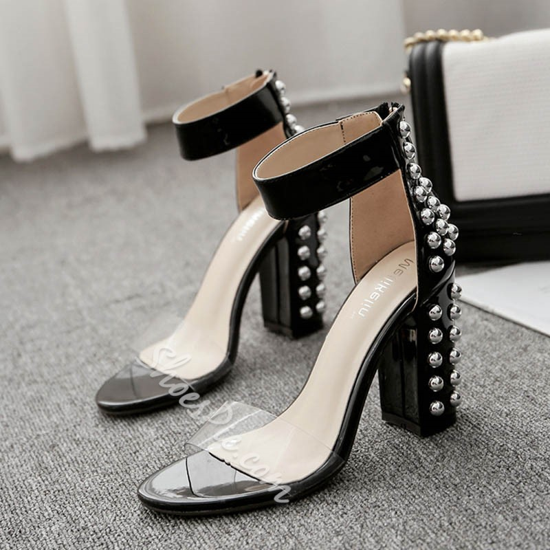 Shoespie Rivet Zipper Chunky Heel Dress Sandals