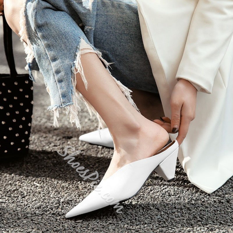 Pointed Toe Shaped Heel Slipper