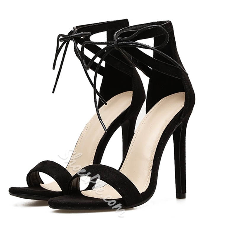 Black Heel Covering Lace-Up Stiletto Heels