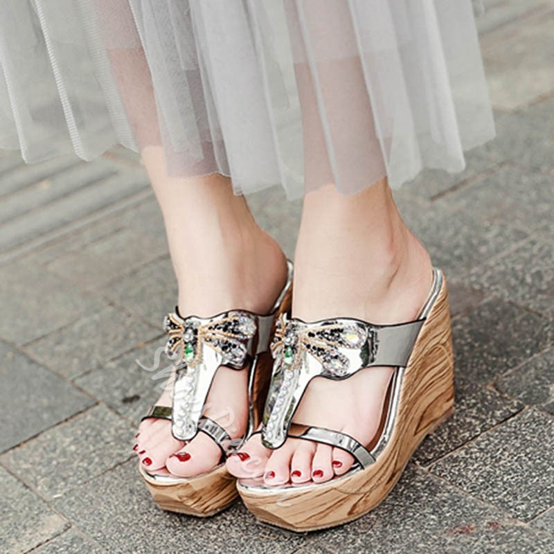 Summer Casual Rhinestone Mules Shoes