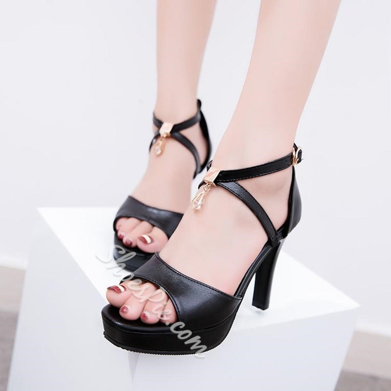 Shoespie Cute Rhinestone Peep Toe Platform Sandals