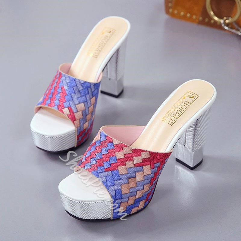 Shoespie Cute Plaid Decorated Platform Mules Shoes