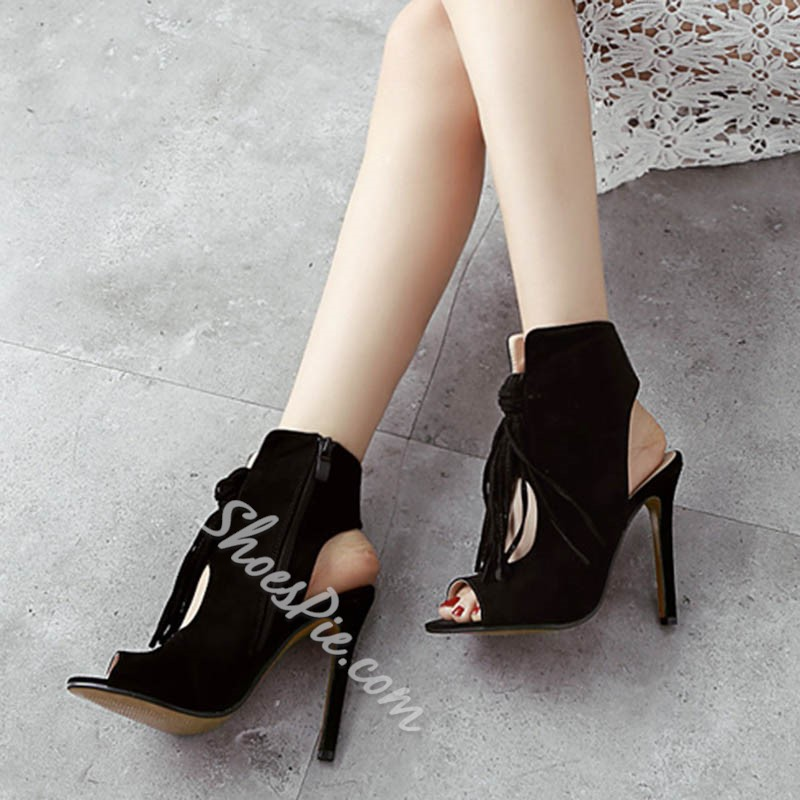 Shoespie Cute Fringe Zipper Peep Toe Sandals