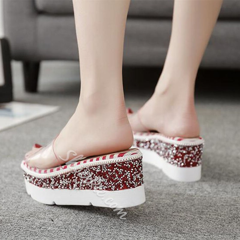Shoespie Sequin Stripe Jelly Wedge Sandals