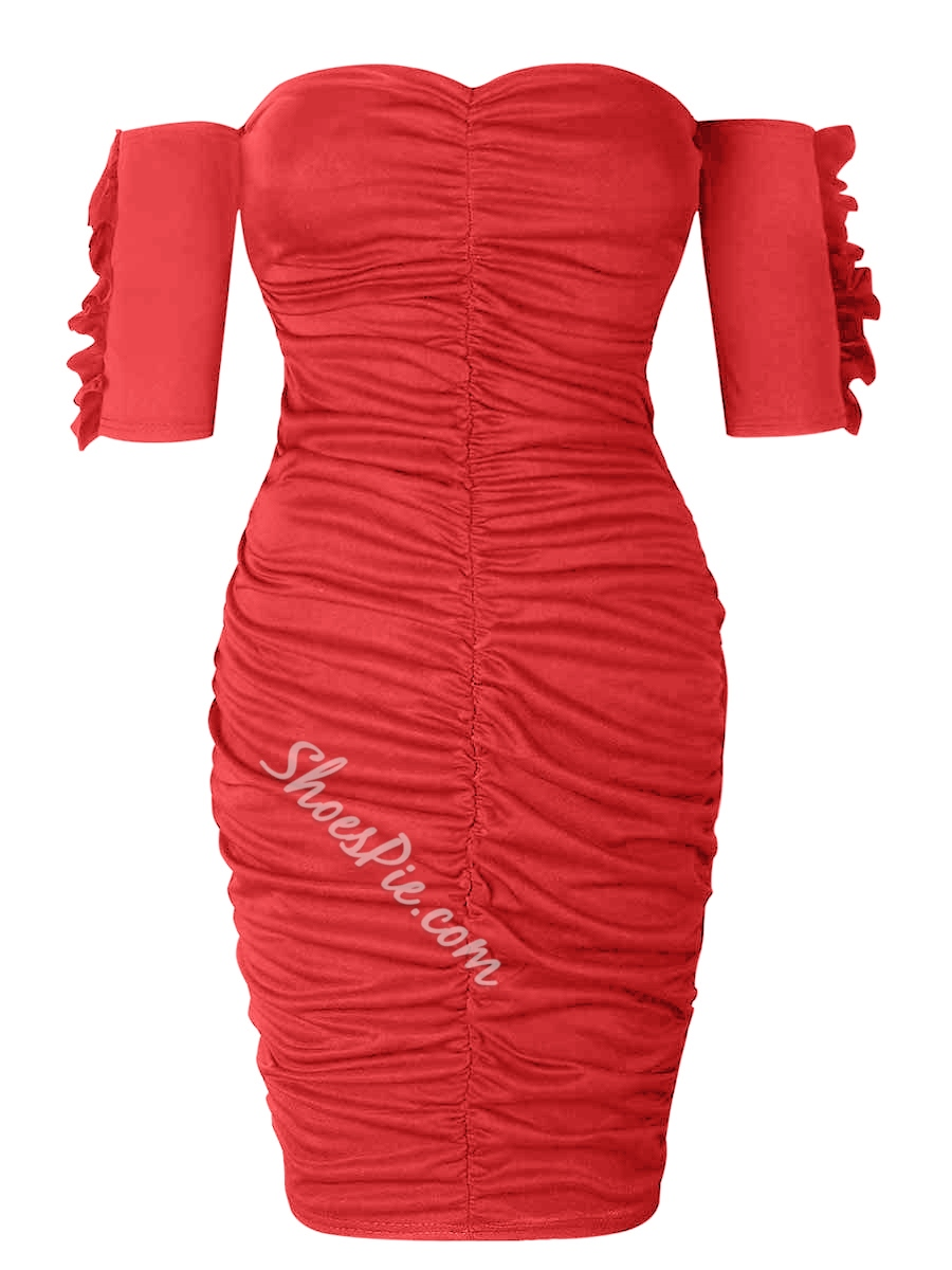 Shoespie Pullover Plain Pleated Womens's Bodycon Dress