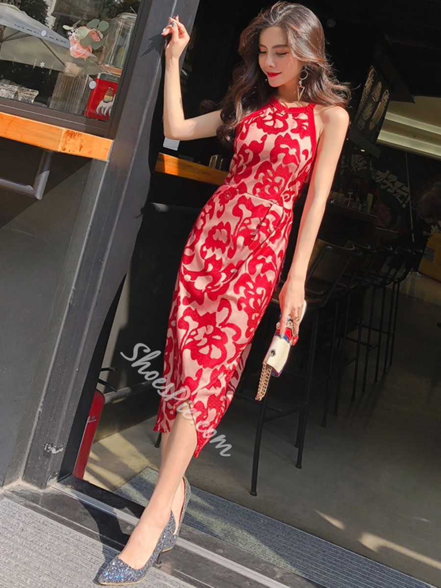 Shoespie Patchwork Pencil Floral Women's Bodycon Dress