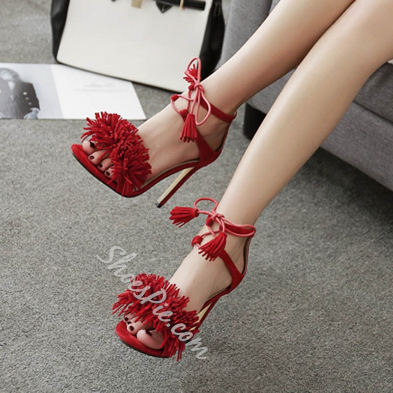 Shoespie Sexy Fringe Lace-Up Stiletto Heels