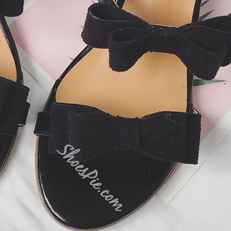 Shoespie Super Cute Bow Chunky Heel Slippers