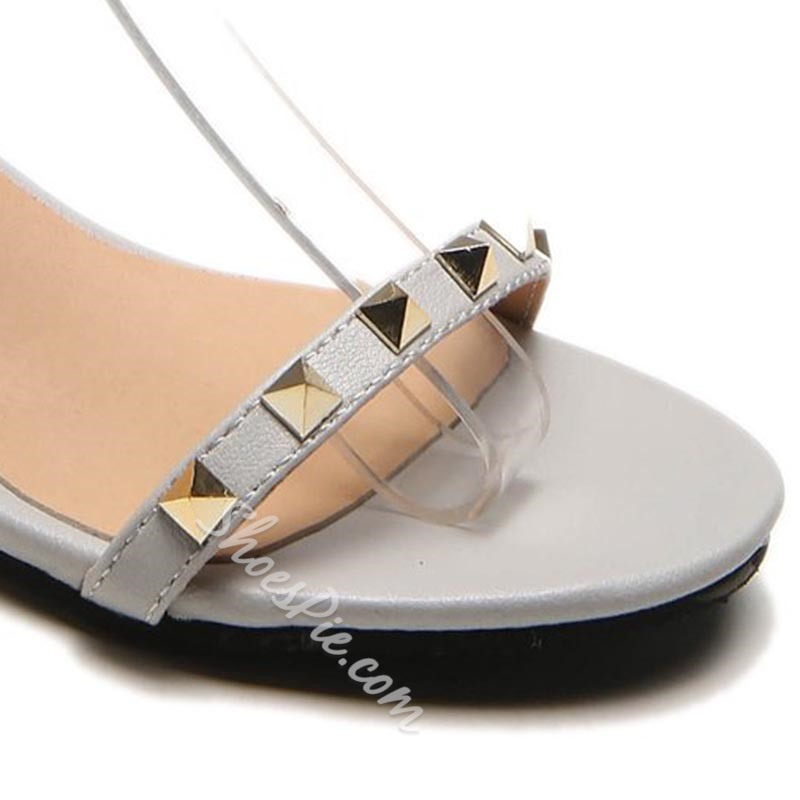 Shoespie Rivet Line-Style Buckle Sandals
