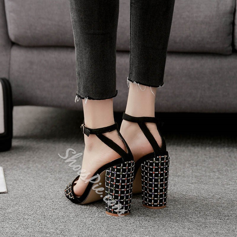 Shoespie Concise Open Toe Ankle Strap Chunky Heel Sandals
