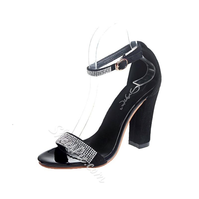 Shoespie Rhinestone Heel Covering Dress Sandals