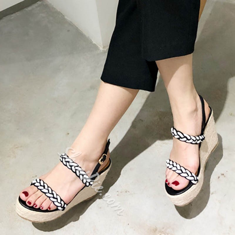 Shoespie Open Toe Low-Cut Upper Woven Wedge Heels