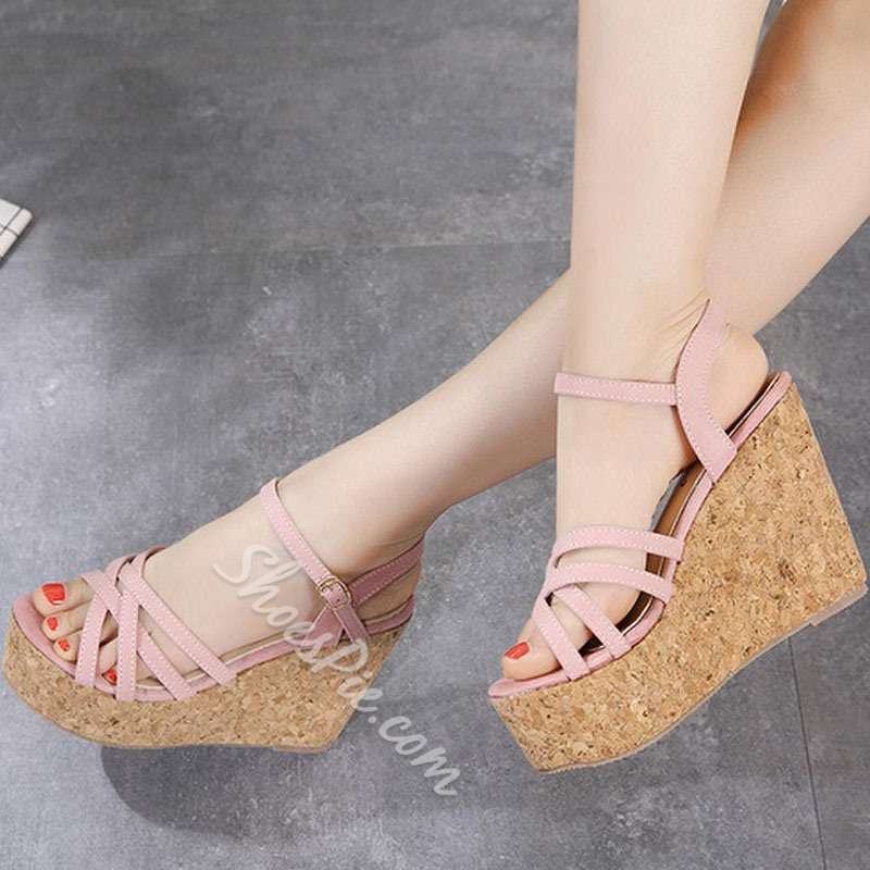 Shoespie Peep Toe Ankle Strap Wedge Heels
