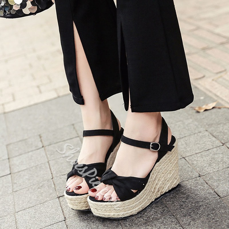 Shoespie Buckle Open Toe Black Wedge Heels