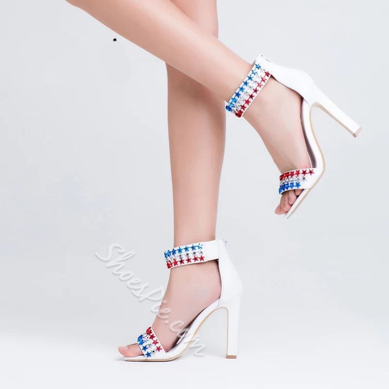 Shoespie Cute Rivet Zipper Stiletto Heel Dress Sandals