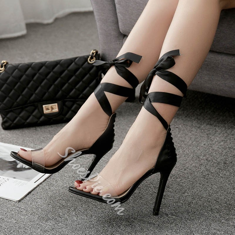 Shoespie Black Sexy Lace-Up Stiletto Heels
