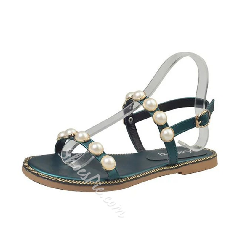 Shoespie Big Beads Ankle Strap Slide Sandals