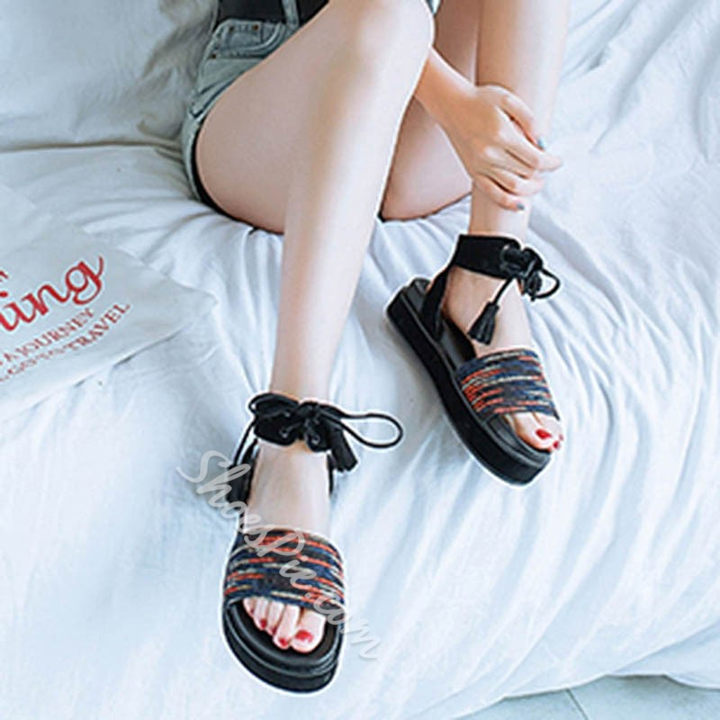 Platform Ankle Strap Lace-Up Slide Sandals