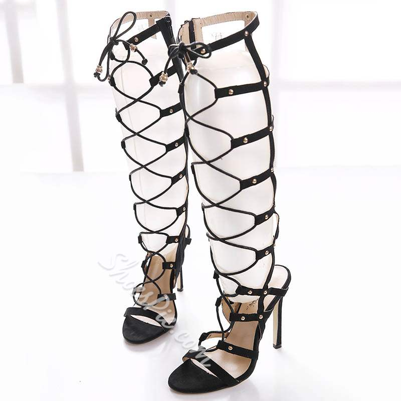 Shoespie Rivet Black High Shaft Zipper Gladiator Sandals