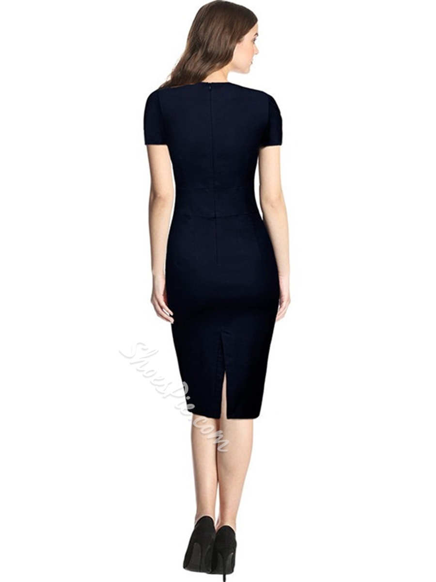 Shoespie Pencil Pullover Pleated Women's Bodycon Dress
