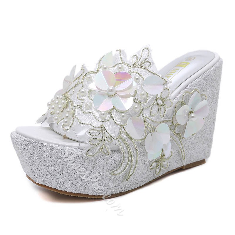Shoespie Casual Appliques Beads Wedge Heels
