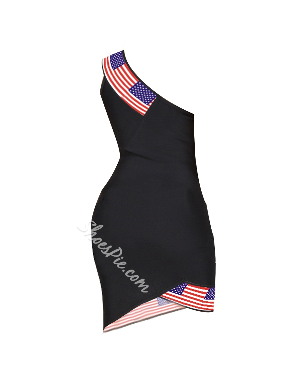 Shoespie One-Shoulder Pullover Patchwork Women's Bodycon Dress