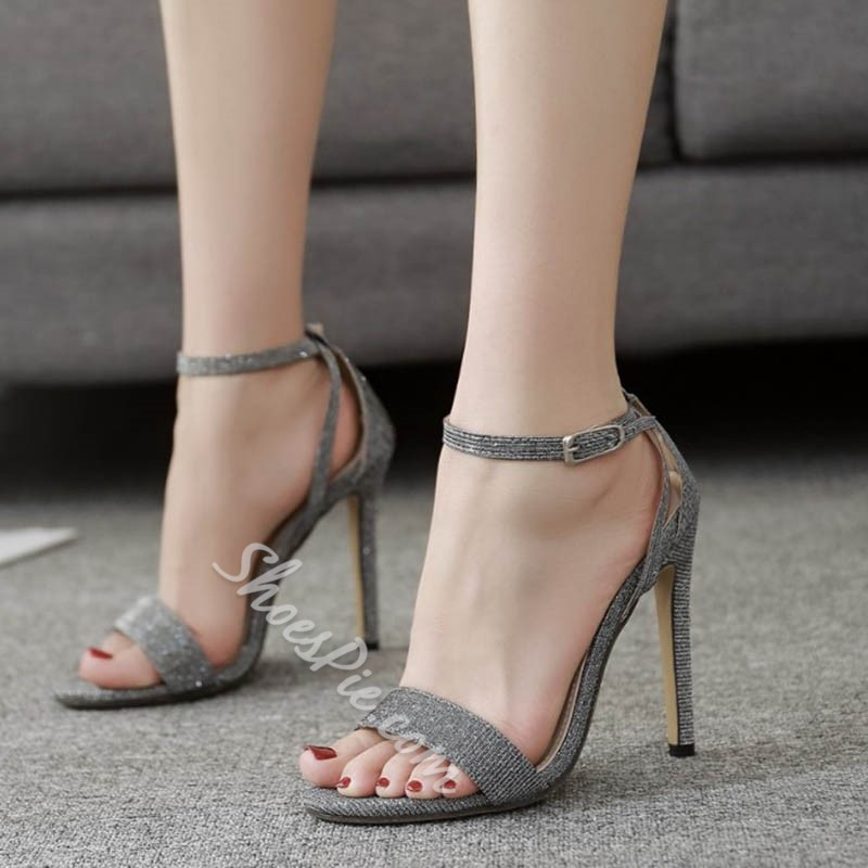 Shoespie Line-Style Buckle Stiletto Heel Sandals