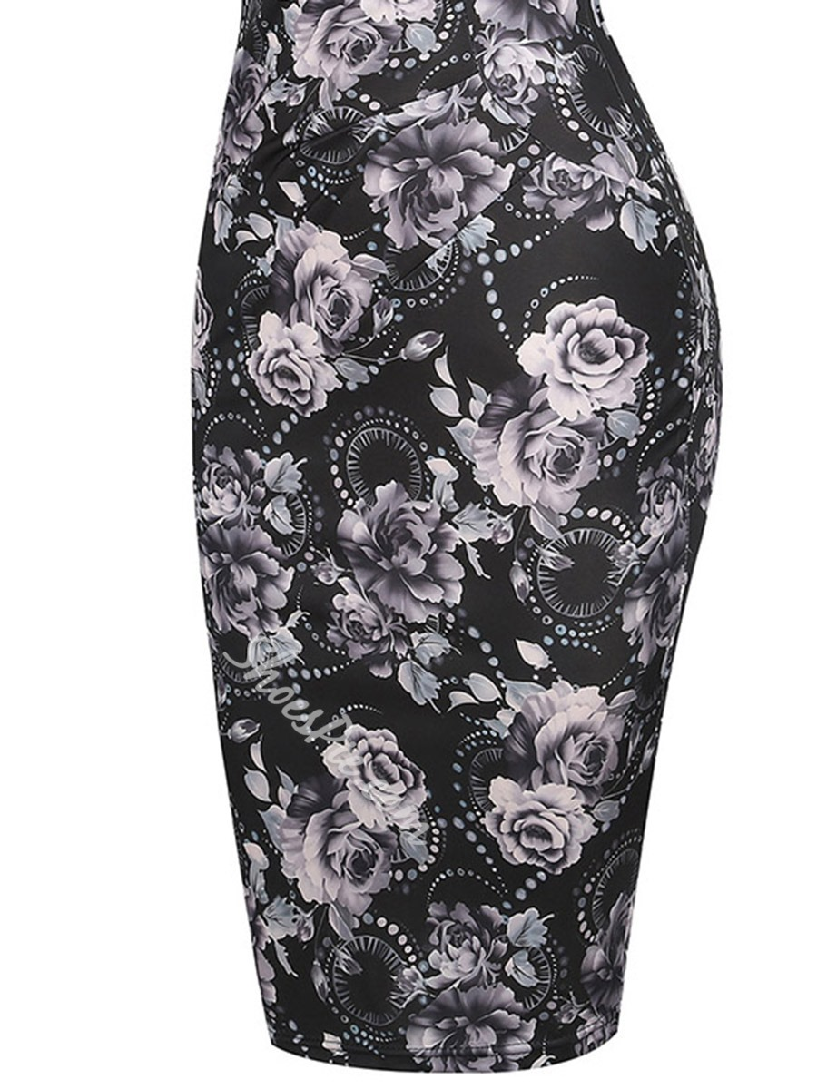 Shoespie Pencil Floral Pullover Women's Bodycon Dress